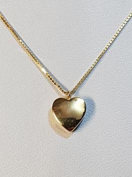 Fio ouro malha cadeado facetado com coração liso