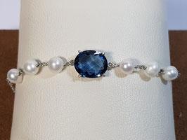 Pulseira prata pérolas e pedra azul - CAD