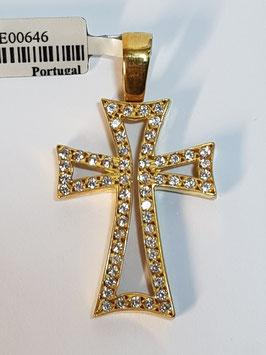 Cruz em ouro aberta curva zircónias