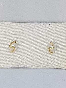 Brincos ouro e pérola 5 mms com aro onda - OC