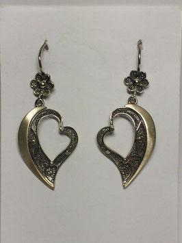 Brincos filigrana em prata - coração lado com aro escovado 27.37.45
