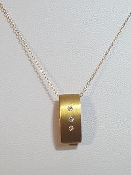 Fio ouro amarelo travessão rectangular 3 zircónias - OE