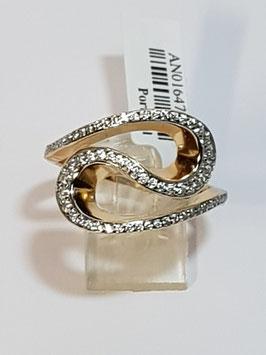 Anel de prata dourada ondulado com zircónias - RR