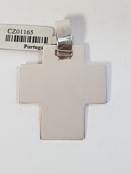 Cruz em Prata Cantos Quadrados Larga - PP
