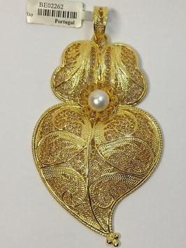 Coração de Viana de filigrana em prata dourada com pérola 70.60 - AN
