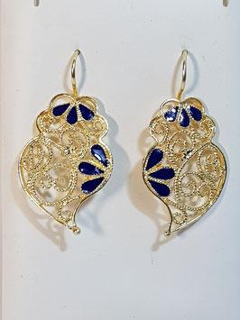 Brincos prata dourada Coração de Viana 33.25 com esmalte - AN