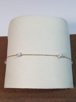 Pulseira em Ouro malha cadeado fino com pérolas 180.4 - MM