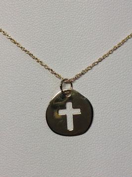 Fio Ouro 9kts com medalha e cruz recortada