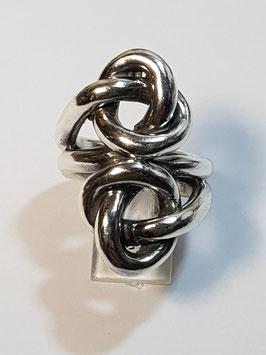 Anel de Prata de dois nós simples paralelos - ARK