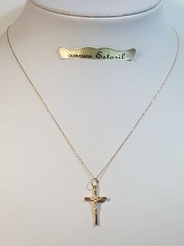 Fio ouro cadeado fino com cruz de fio redondo com cristo - MM