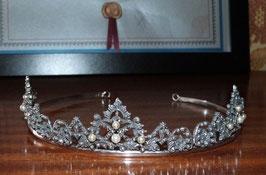 Tiara de cabelo em prata flores e pérola - L - RB