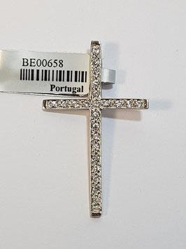 Cruz em ouro branco com zircónias - OE