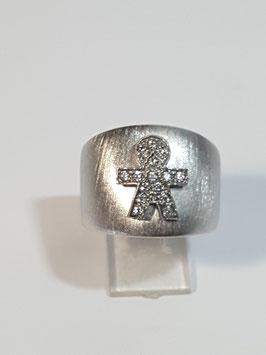 Anel em prata escovado menino zircónias - RR