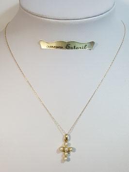 Fio ouro cadeado fino com cruz pérolas 14 - MM