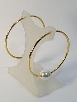 Brincos prata dourada argola fio redondo e pérola - RR