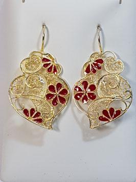 Brincos prata dourada Coração de Viana 37.29 com esmalte vermº- AN