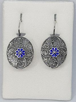 Brincos filigrana em prata, oval com esmalte azul - FM