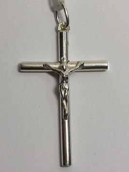 Cruz em prata canevão redondo com Cristo 35.20 - PP