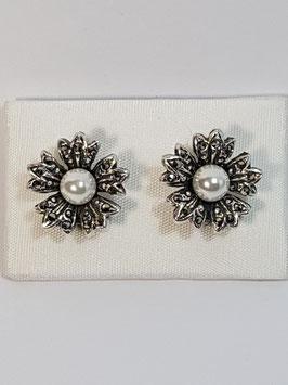 Brincos prata e marcassitas flor lis e pérola - RB