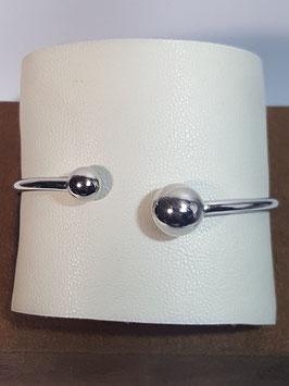Pulseira escrava aberta em prata com 2 bolas diferentes - AU