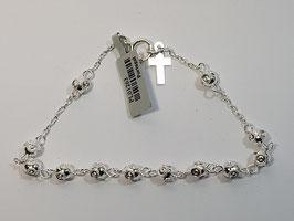 Dezena pulseira em prata de bolas de Viana 5mms - RB