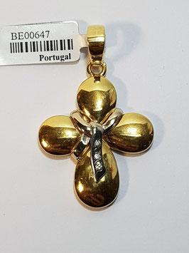 Cruz em ouro redonda com laço e zircónias - OE