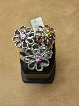 Anel em prata e ouro com 3 flores