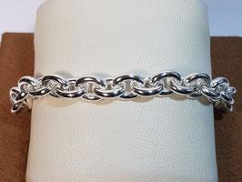 Pulseira prata de cadeado redondo e elos ovais largos - PP / PS228