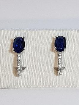 Brincos prata zircónia oval e travessão de zircónias - Azul - AU