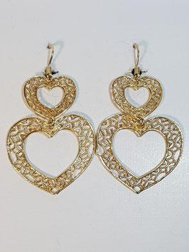 Brincos filigrana em prata dourada duplo coração - DB
