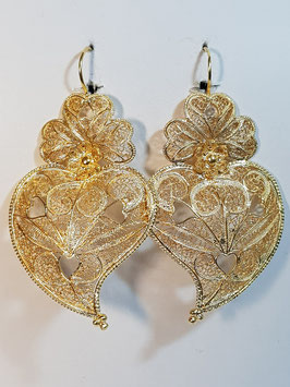 Brincos prata coração de Viana dourados 70.60 corações - AN