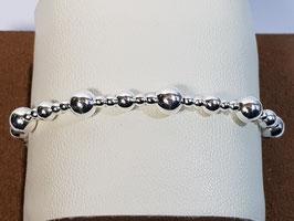Pulseira prata com 3 tamanhos de bolas - AU