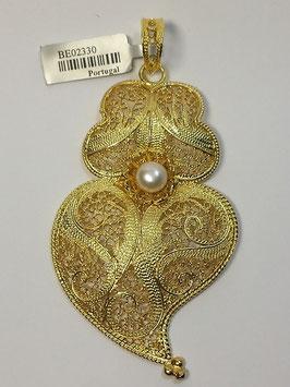 Coração de Viana de filigrana em prata dourada com pérola 62.75 - AN BE02330