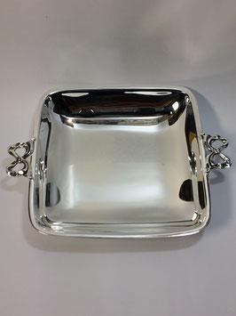 Taça Lisa Quadrada em Prata com Laços - FM