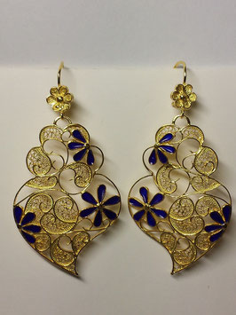 Brincos coração de Viana prata dourada com flores de esmalte 45.60