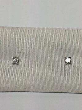 Brincos prata solitário com zircónia em garras - RR
