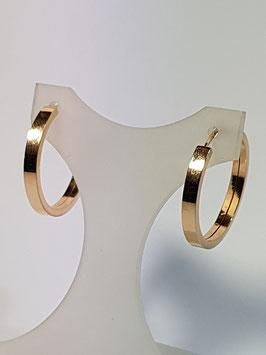 Brincos ouro argola redonda de fio rectangular  24X3 - AR