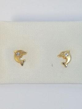 Brincos ouro golfinho zircónia - OC