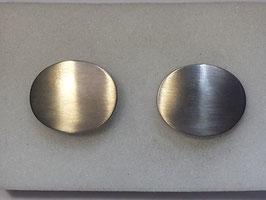 Botão de Punho Ouro Branco - Oval Escovado CTª