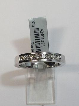 Anel ouro branco e diamantes - 1/2 memória calibré com diamantes - 3,6 JM