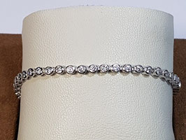 Pulseira prata tipo riviera com zircónias brancas em aro 21.17.4 - AU