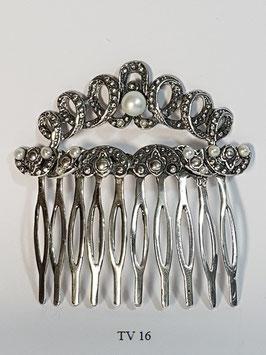Travessão / Pente de cabelo em prata pérola com laços e pérolas - TV16 - RB