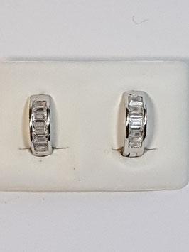 Brincos prata argolas de zircónias quadradas 13.4 - RR