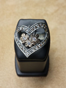 Anel em prata e ouro em formato coração e flores