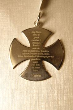 Cruz dos Templários em Prata com Oração da Avé Maria - PP