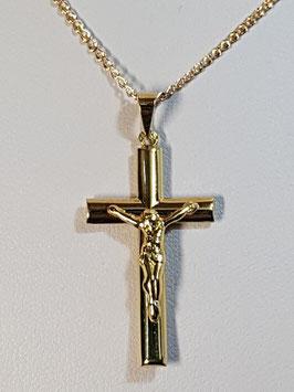 Fio ouro friso love com cruz oval com cristo - AROT