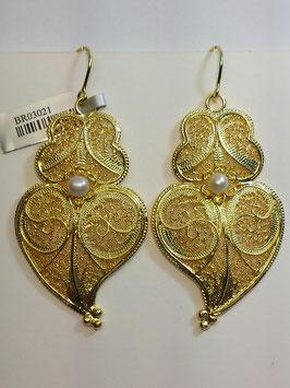 Brincos prata coração de Viana dourados 55.45 com pérola - AN