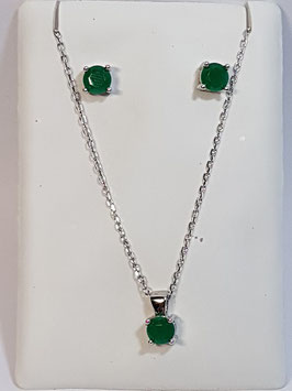 Fio e brincos em prata com zircónia verde - AU