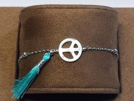 Pulseira Seda Símbolo Paz Madre-Pérola