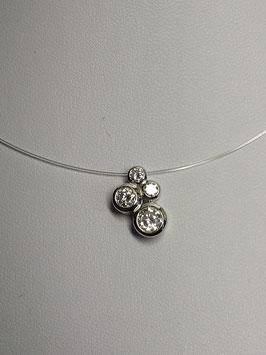 Fio prata e nylon com pendente 4 zircónias